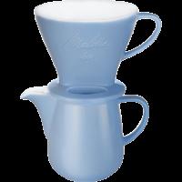 Pour Over set porselein - koffiefilter 1x4® & kan 0,6l ijsblauw